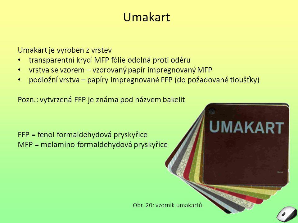 Umakart Umakart je vyroben z vrstev transparentní krycí MFP fólie odolná proti oděru vrstva se vzorem – vzorovaný papír impregnovaný MFP podložní vrst