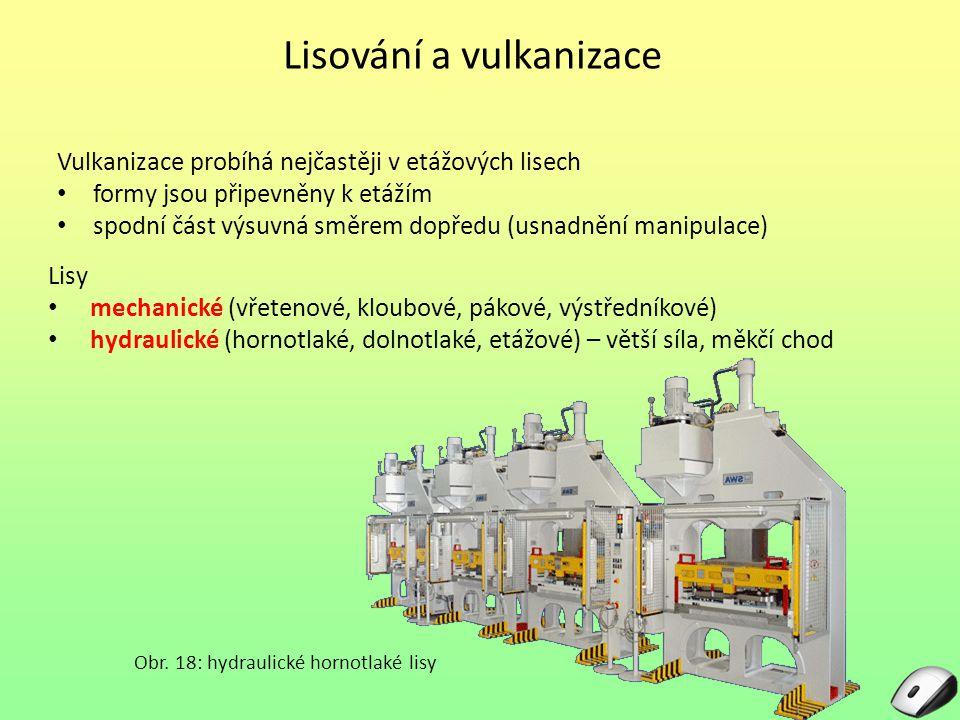 Lisování a vulkanizace Vulkanizace probíhá nejčastěji v etážových lisech formy jsou připevněny k etážím spodní část výsuvná směrem dopředu (usnadnění
