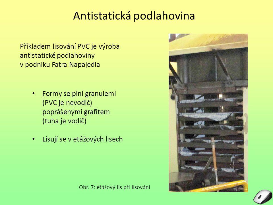 Antistatická podlahovina Obr. 7: etážový lis při lisování Příkladem lisování PVC je výroba antistatické podlahoviny v podniku Fatra Napajedla Formy se