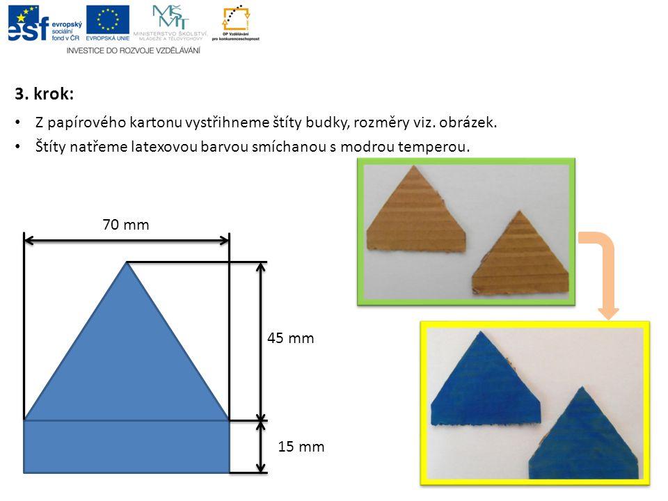 3. krok: Z papírového kartonu vystřihneme štíty budky, rozměry viz. obrázek. Štíty natřeme latexovou barvou smíchanou s modrou temperou. 70 mm 45 mm 1