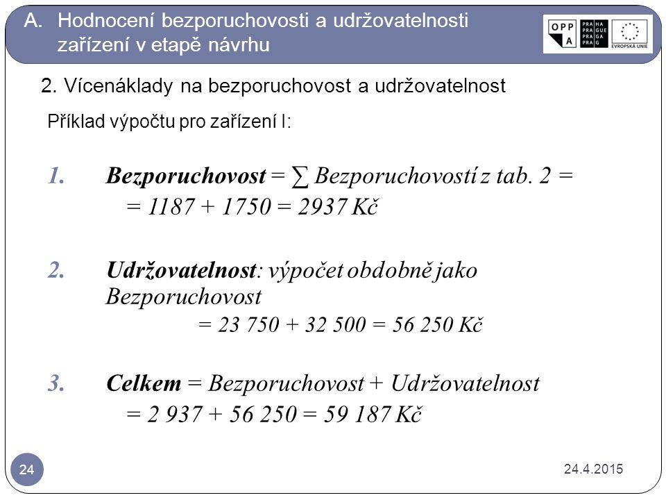 Příklad výpočtu pro zařízení I: 1.Bezporuchovost = ∑ Bezporuchovostí z tab.