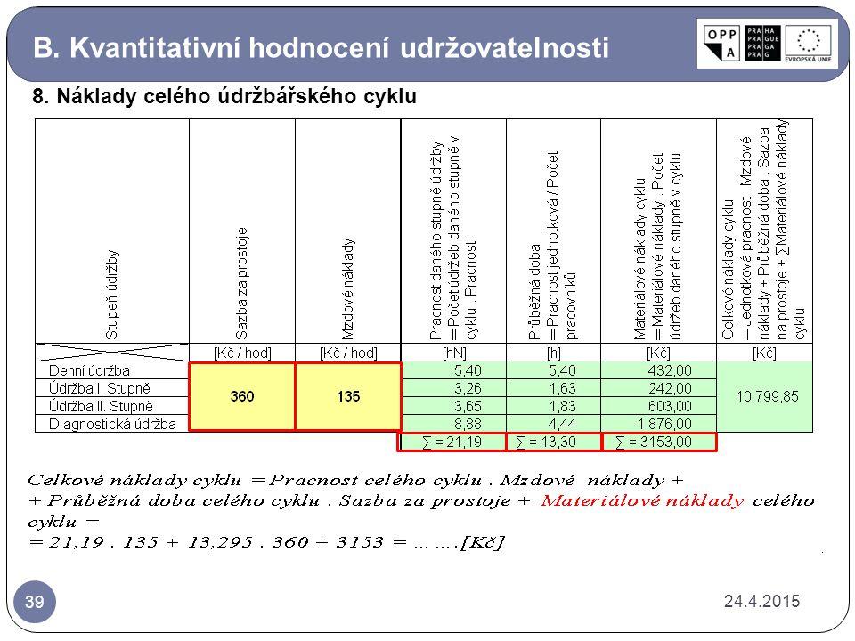 B. Kvantitativní hodnocení udržovatelnosti 24.4.2015 39 8. Náklady celého údržbářského cyklu