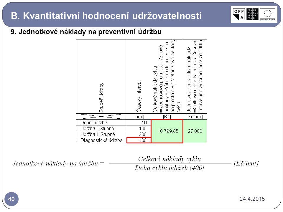B. Kvantitativní hodnocení udržovatelnosti 24.4.2015 40 9. Jednotkové náklady na preventivní údržbu