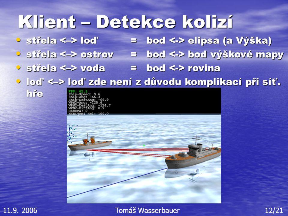 Klient – Detekce kolizí střela loď = bod elipsa (a Výška) střela loď = bod elipsa (a Výška) střela ostrov = bod bod výškové mapy střela ostrov = bod bod výškové mapy střela voda = bod rovina střela voda = bod rovina loď loď zde není z důvodu komplikací při síť.