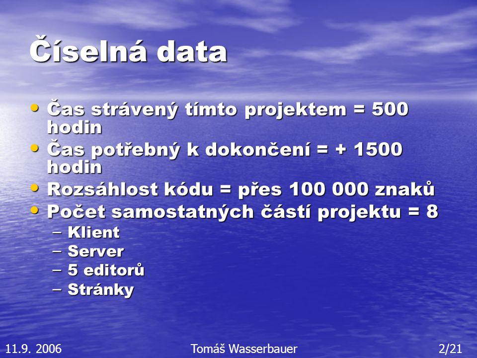 Číselná data Čas strávený tímto projektem = 500 hodin Čas strávený tímto projektem = 500 hodin Čas potřebný k dokončení = + 1500 hodin Čas potřebný k dokončení = + 1500 hodin Rozsáhlost kódu = přes 100 000 znaků Rozsáhlost kódu = přes 100 000 znaků Počet samostatných částí projektu = 8 Počet samostatných částí projektu = 8 – Klient – Server – 5 editorů – Stránky 11.9.