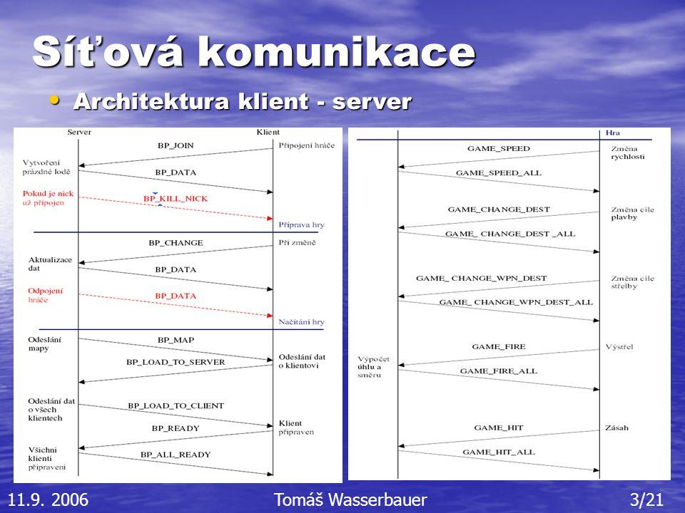 Síťová komunikace Architektura klient - server Architektura klient - server 11.9.