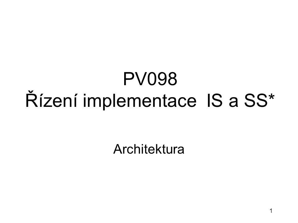 1 PV098 Řízení implementace IS a SS* Architektura