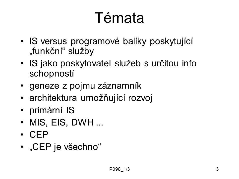 """P098_1/33 Témata IS versus programové balíky poskytující """"funkční služby IS jako poskytovatel služeb s určitou info schopností geneze z pojmu záznamník architektura umožňující rozvoj primární IS MIS, EIS, DWH..."""