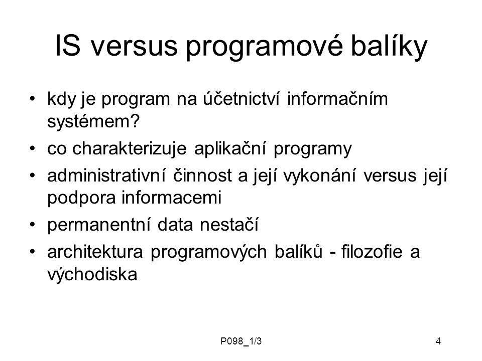 P098_1/34 IS versus programové balíky kdy je program na účetnictví informačním systémem? co charakterizuje aplikační programy administrativní činnost