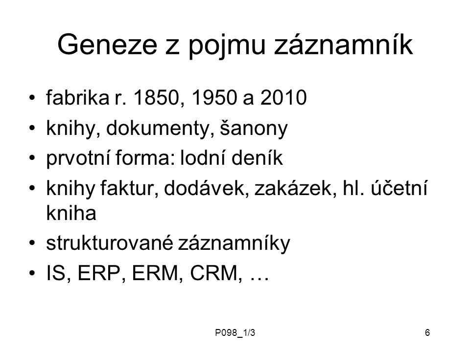 P098_1/36 Geneze z pojmu záznamník fabrika r.