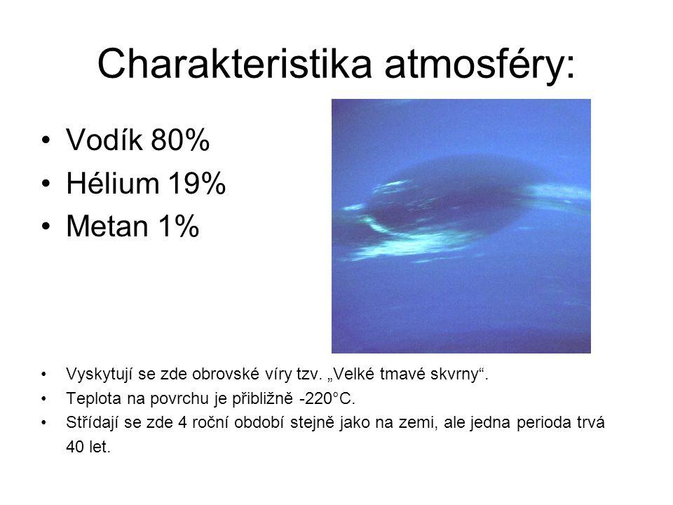 """Charakteristika atmosféry: Vodík 80% Hélium 19% Metan 1% Vyskytují se zde obrovské víry tzv. """"Velké tmavé skvrny"""". Teplota na povrchu je přibližně -22"""
