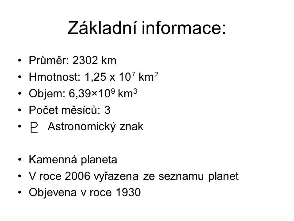 Základní informace: Průměr: 2302 km Hmotnost: 1,25 x 10 7 km 2 Objem: 6,39×10 9 km 3 Počet měsíců: 3 Astronomický znak Kamenná planeta V roce 2006 vyř