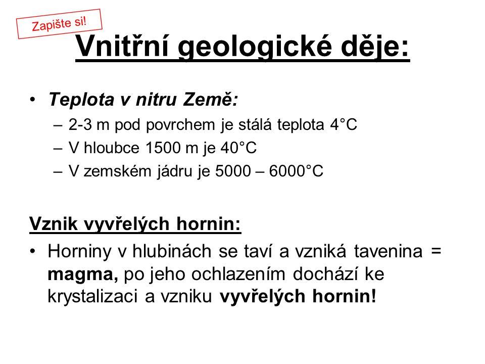 Vnitřní geologické děje: Teplota v nitru Země: –2-3 m pod povrchem je stálá teplota 4°C –V hloubce 1500 m je 40°C –V zemském jádru je 5000 – 6000°C Vz