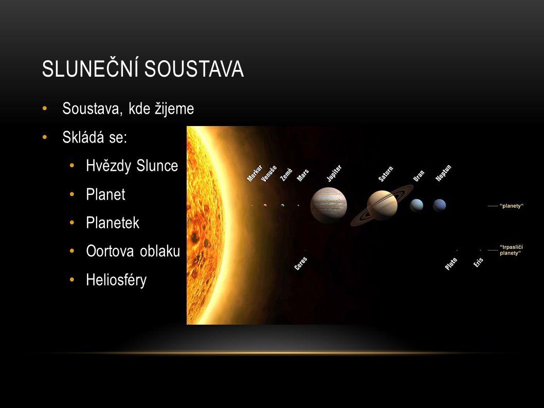 SLUNEČNÍ SOUSTAVA Soustava, kde žijeme Skládá se: Hvězdy Slunce Planet Planetek Oortova oblaku Heliosféry
