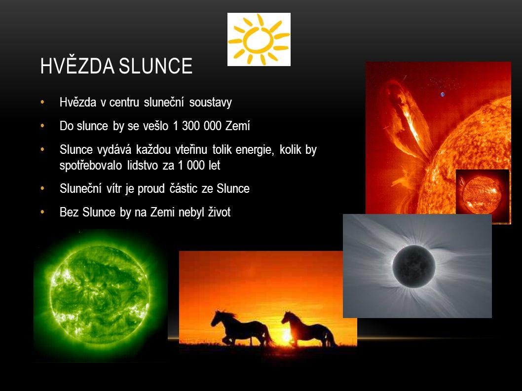 HVĚZDA SLUNCE Hvězda v centru sluneční soustavy Do slunce by se vešlo 1 300 000 Zemí Slunce vydává každou vteřinu tolik energie, kolik by spotřebovalo lidstvo za 1 000 let Sluneční vítr je proud částic ze Slunce Bez Slunce by na Zemi nebyl život