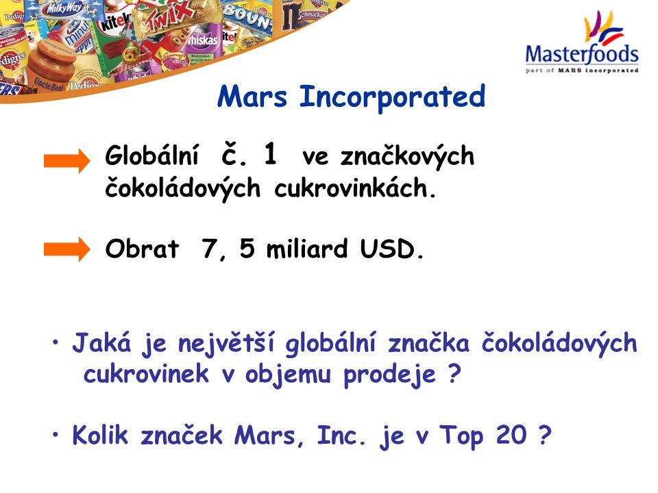 Globální č. 1 ve značkových čokoládových cukrovinkách. Obrat 7, 5 miliard USD. Mars Incorporated Jaká je největší globální značka čokoládových cukrovi
