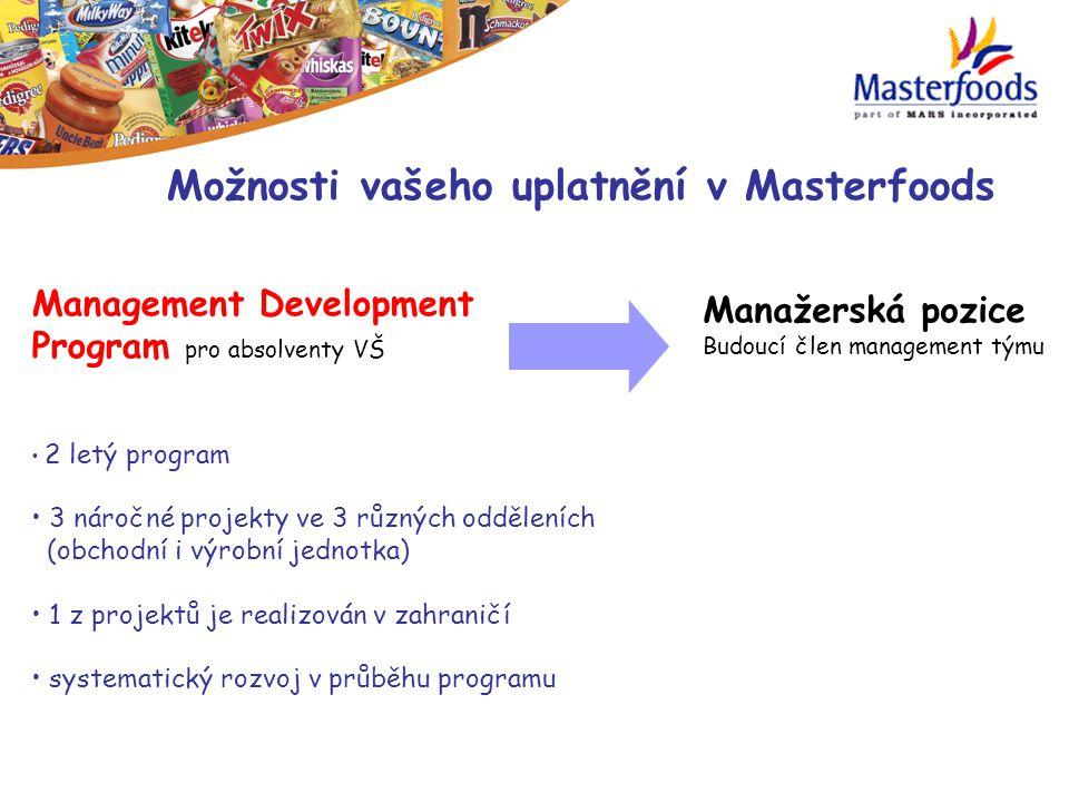 Management Development Program pro absolventy VŠ 2 letý program 3 náročné projekty ve 3 různých odděleních (obchodní i výrobní jednotka) 1 z projektů