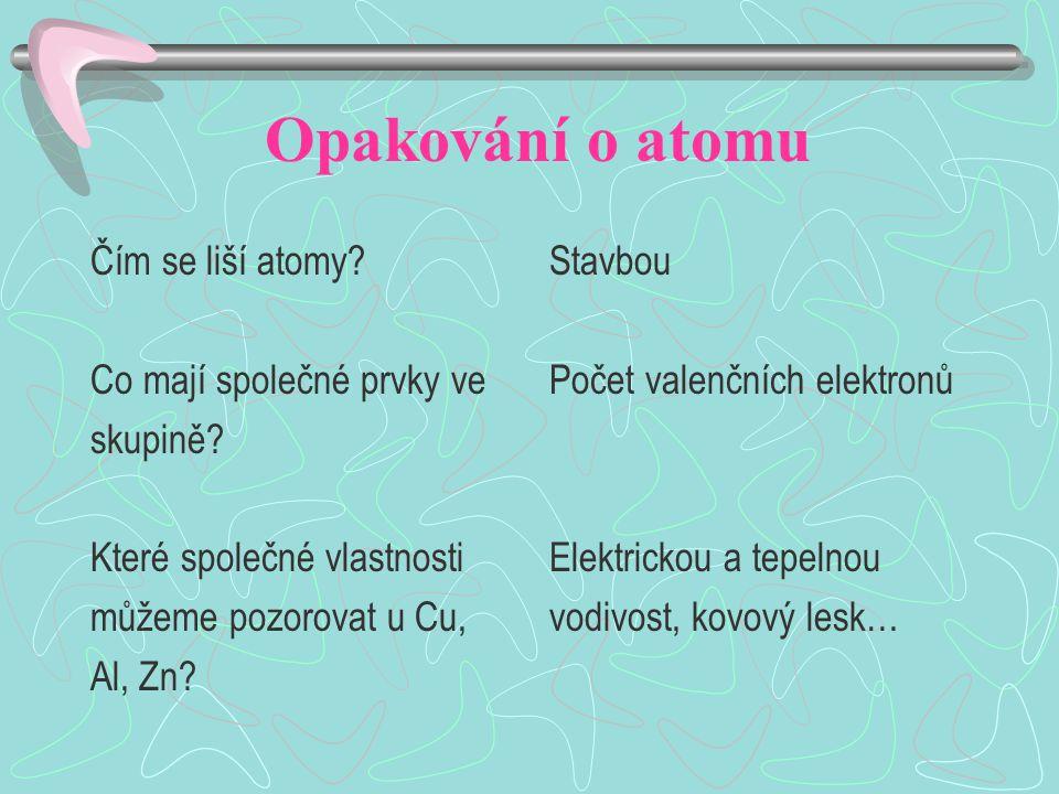 Opakování o atomu Čím se liší atomy? Co mají společné prvky ve skupině? Které společné vlastnosti můžeme pozorovat u Cu, Al, Zn? Stavbou Počet valenčn