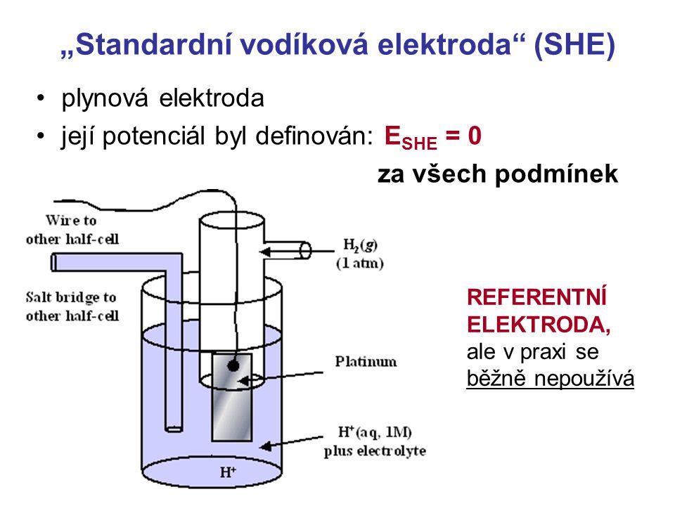 """""""Standardní vodíková elektroda (SHE) plynová elektroda její potenciál byl definován: E SHE = 0 za všech podmínek REFERENTNÍ ELEKTRODA, ale v praxi se běžně nepoužívá"""