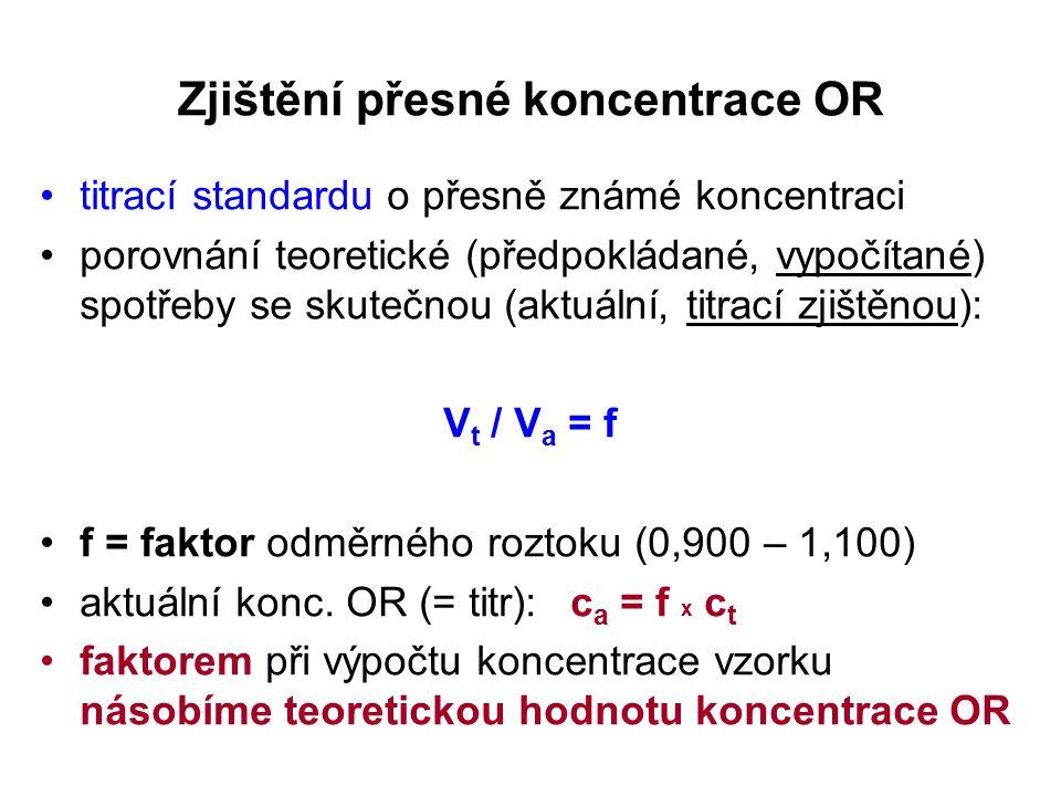 Zjištění přesné koncentrace OR titrací standardu o přesně známé koncentraci porovnání teoretické (předpokládané, vypočítané) spotřeby se skutečnou (aktuální, titrací zjištěnou): V t / V a = f f = faktor odměrného roztoku (0,900 – 1,100) aktuální konc.
