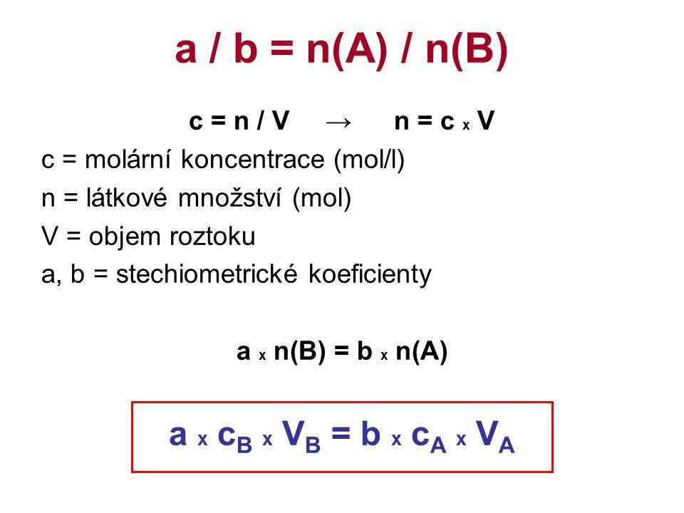 c = n / V→n = c x V c = molární koncentrace (mol/l) n = látkové množství (mol) V = objem roztoku a, b = stechiometrické koeficienty a x n(B) = b x n(A) a x c B x V B = b x c A x V A