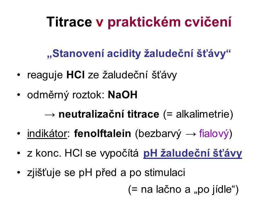 """Titrace v praktickém cvičení """"Stanovení acidity žaludeční šťávy"""" reaguje HCl ze žaludeční šťávy odměrný roztok: NaOH → neutralizační titrace (= alkali"""