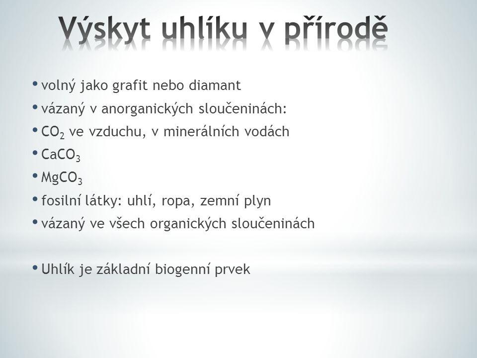 volný jako grafit nebo diamant vázaný v anorganických sloučeninách: CO 2 ve vzduchu, v minerálních vodách CaCO 3 MgCO 3 fosilní látky: uhlí, ropa, zem