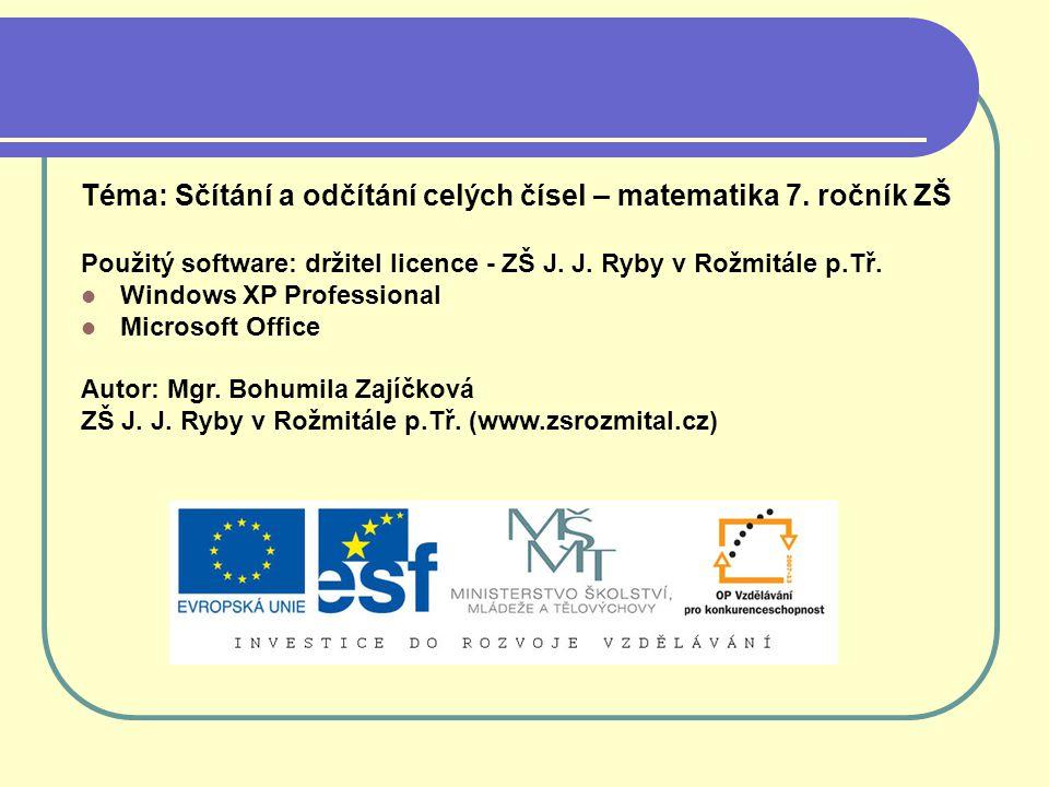 Téma: Sčítání a odčítání celých čísel – matematika 7. ročník ZŠ Použitý software: držitel licence - ZŠ J. J. Ryby v Rožmitále p.Tř. Windows XP Profess