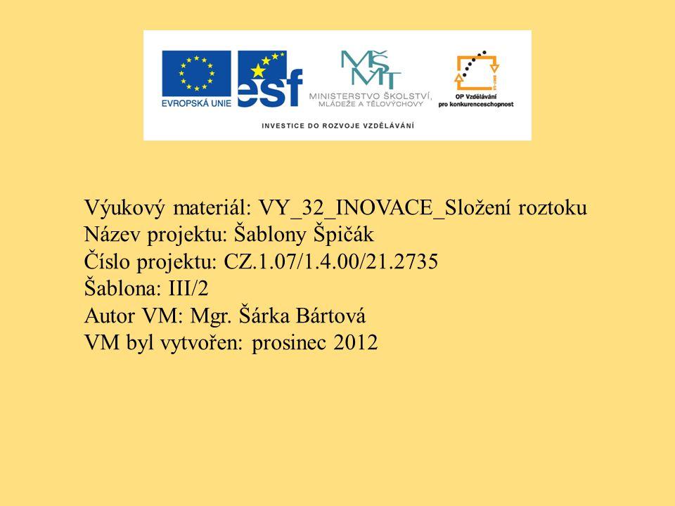 Výukový materiál: VY_32_INOVACE_Složení roztoku Název projektu: Šablony Špičák Číslo projektu: CZ.1.07/1.4.00/21.2735 Šablona: III/2 Autor VM: Mgr.