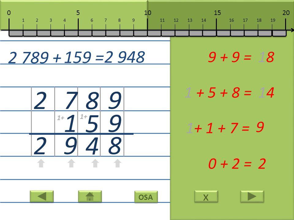 x x OSA 9 9 8 9 + 9 =18 8 5 4 1 + 5 + 8 =14 7 1 9 1+ 1 + 7 = 9 2 2 0 + 2 =2 2 789 + 159 = 2 948 10152050 111213141617181967891234 1+