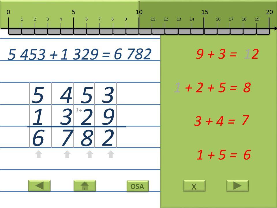 x x 3 9 2 9 + 3 =12 5 2 8 1 + 2 + 5 =8 4 3 7 3 + 4 = 7 5 1 6 1 + 5 =6 5 453 + 1 329 = 6 782 10152050 111213141617181967891234 1+
