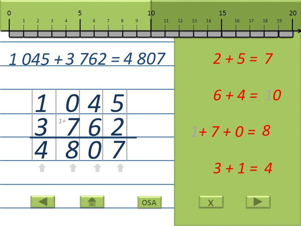 x x OSA 5 2 7 2 + 5 =7 4 6 0 6 + 4 =10 0 7 8 1+ 7 + 0 = 8 1 3 4 3 + 1 =4 1 045 + 3 762 = 4 807 10152050 111213141617181967891234 1+
