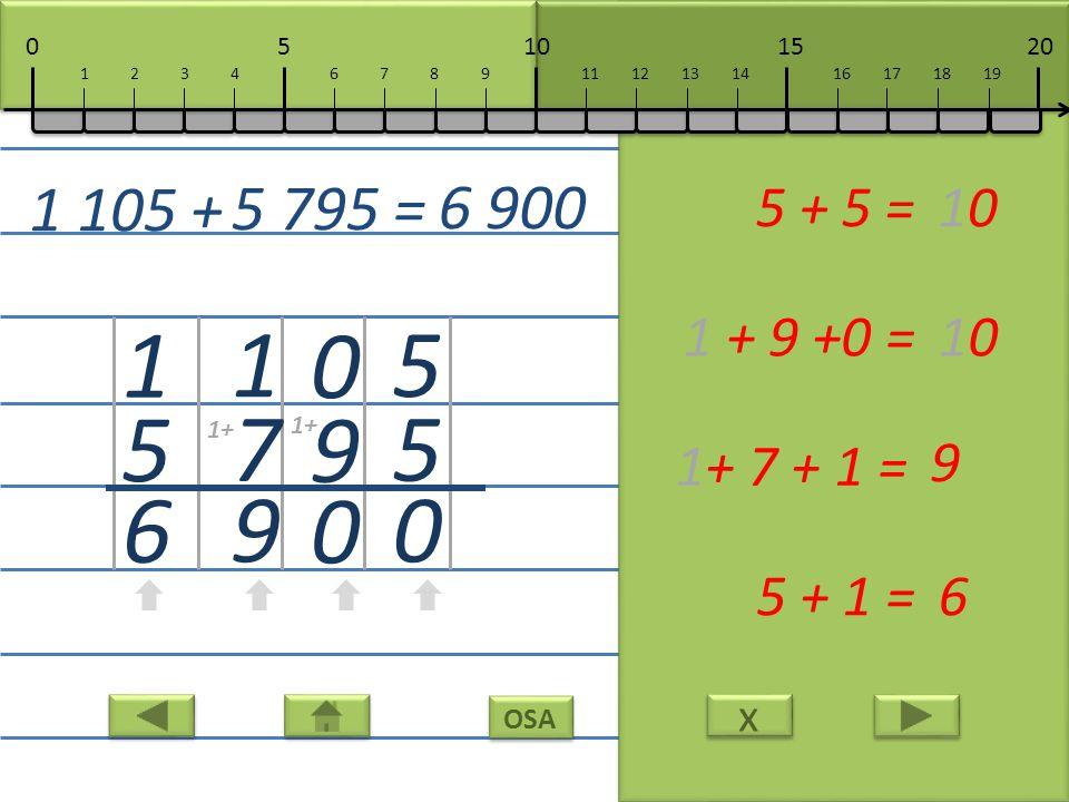 x x OSA 5 5 0 5 + 5 =10 0 9 0 1 + 9 +0 =10 1 7 9 1+ 7 + 1 = 9 1 5 6 5 + 1 =6 1 105 + 5 795 = 6 900 10152050 111213141617181967891234 1+