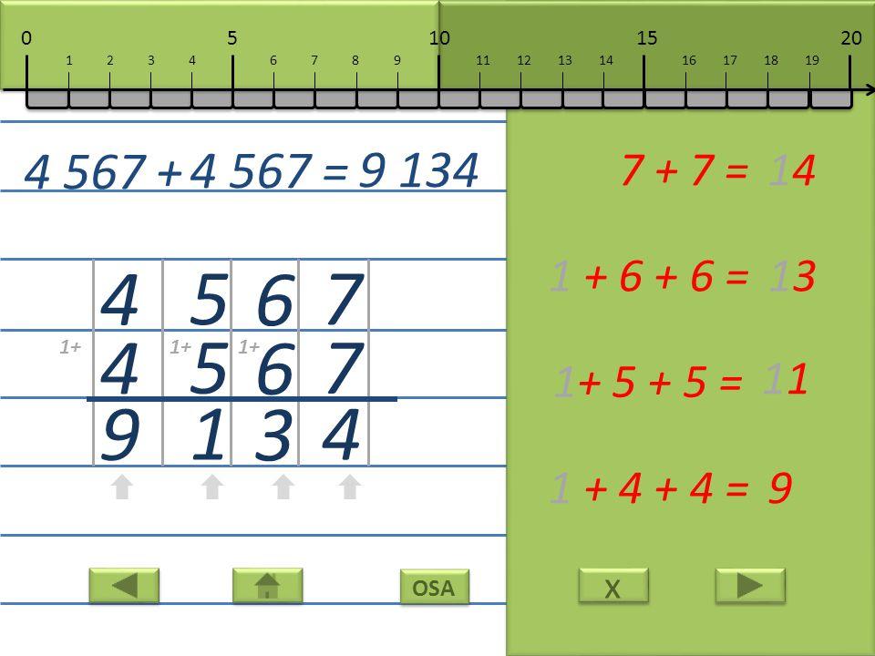 x x OSA 7 7 4 7 + 7 =14 6 6 3 1 + 6 + 6 =13 5 5 1 1+ 5 + 5 = 11 4 4 9 1 + 4 + 4 =9 4 567 + 4 567 = 9 134 10152050 111213141617181967891234 1+