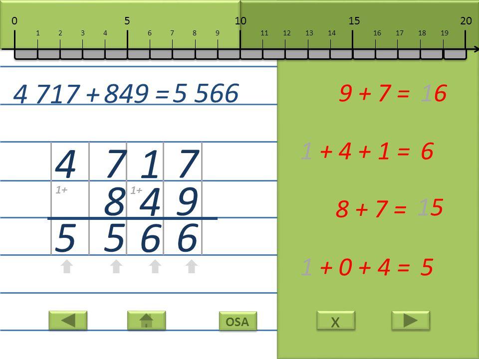 x x OSA 7 9 6 9 + 7 =16 1 4 6 1 + 4 + 1 =6 7 8 5 8 + 7 = 15 4 5 1 + 0 + 4 =5 4 717 + 849 = 5 566 10152050 111213141617181967891234 1+