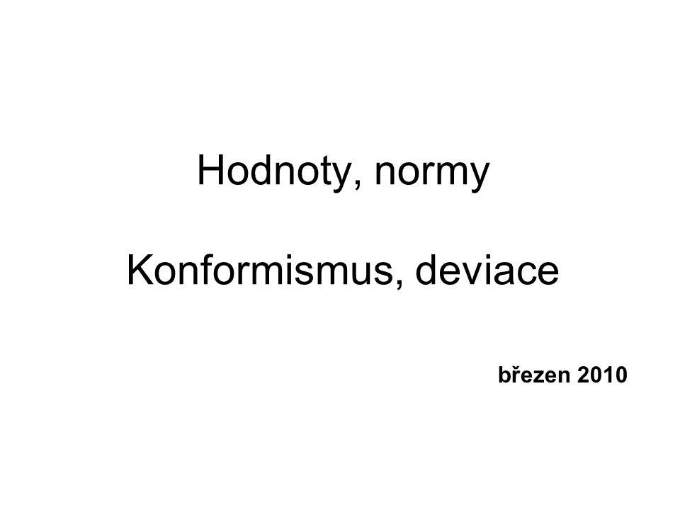 Hodnoty, normy Konformismus, deviace březen 2010