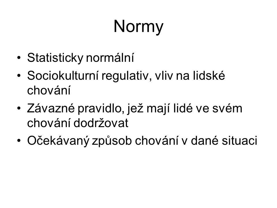 Normy Statisticky normální Sociokulturní regulativ, vliv na lidské chování Závazné pravidlo, jež mají lidé ve svém chování dodržovat Očekávaný způsob