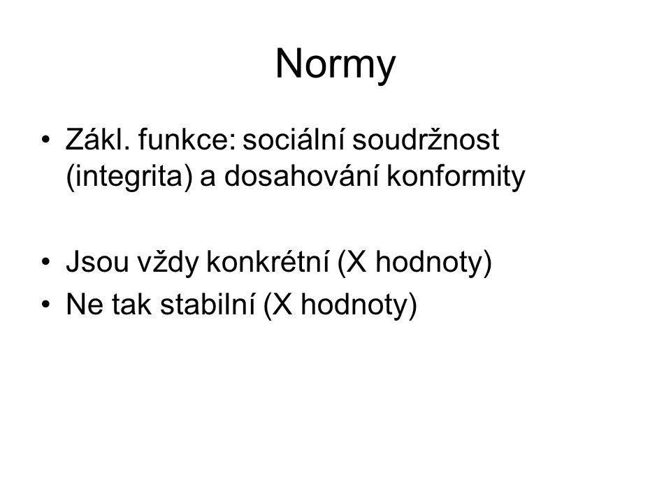 Normy Zákl. funkce: sociální soudržnost (integrita) a dosahování konformity Jsou vždy konkrétní (X hodnoty) Ne tak stabilní (X hodnoty)