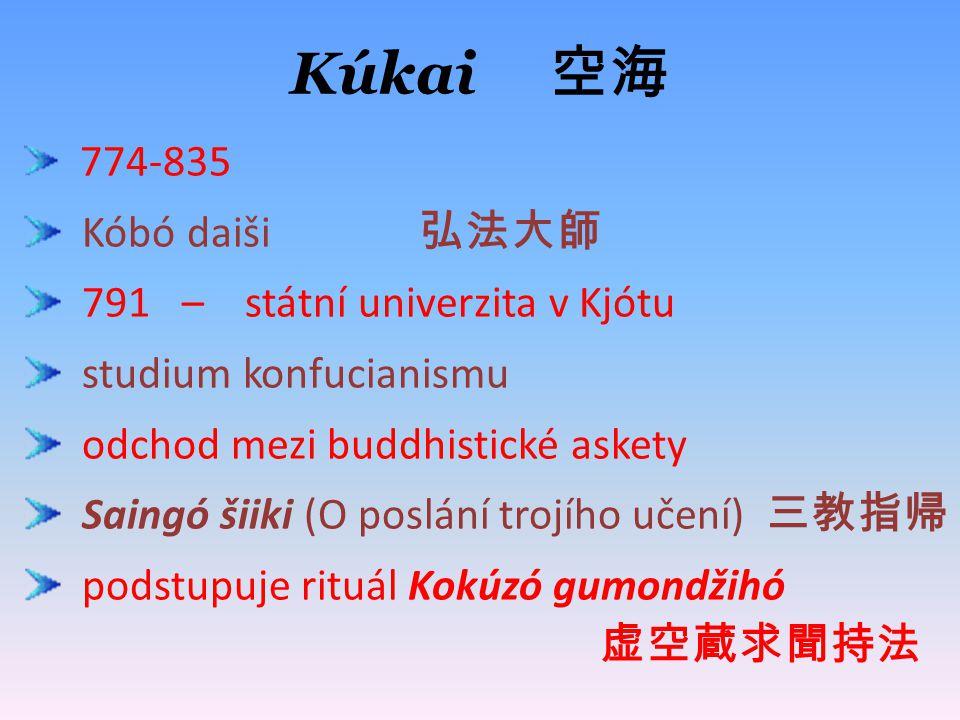 Kúkai 空海 774-835 Kóbó daiši 弘法大師 791 – státní univerzita v Kjótu studium konfucianismu odchod mezi buddhistické askety Saingó šiiki (O poslání trojího