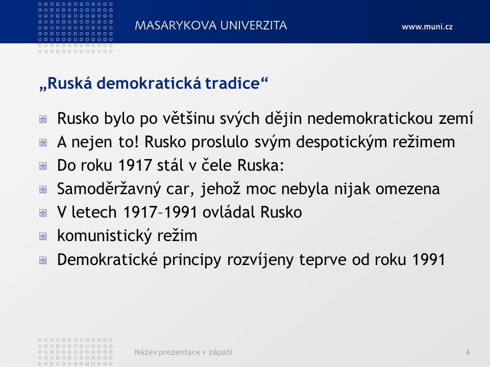 Může být Rusko demokratické? ANO/NE Název prezentace v zápatí15