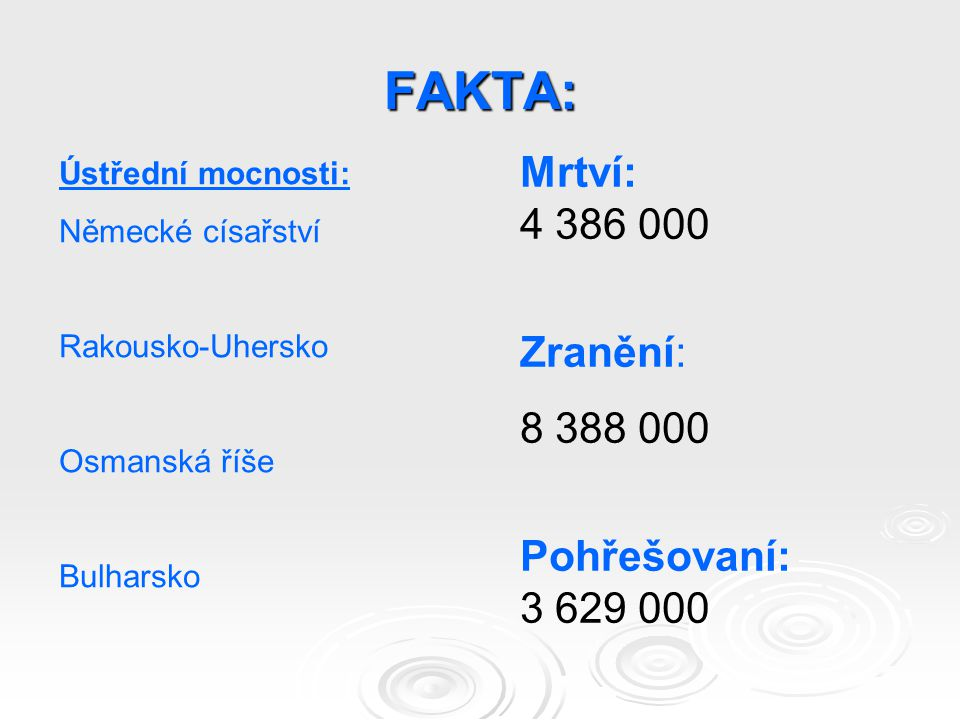 FAKTA: Ústřední mocnosti: Německé císařství Rakousko-Uhersko Osmanská říše Bulharsko Mrtví: 4 386 000 Zranění: 8 388 000 Pohřešovaní: 3 629 000