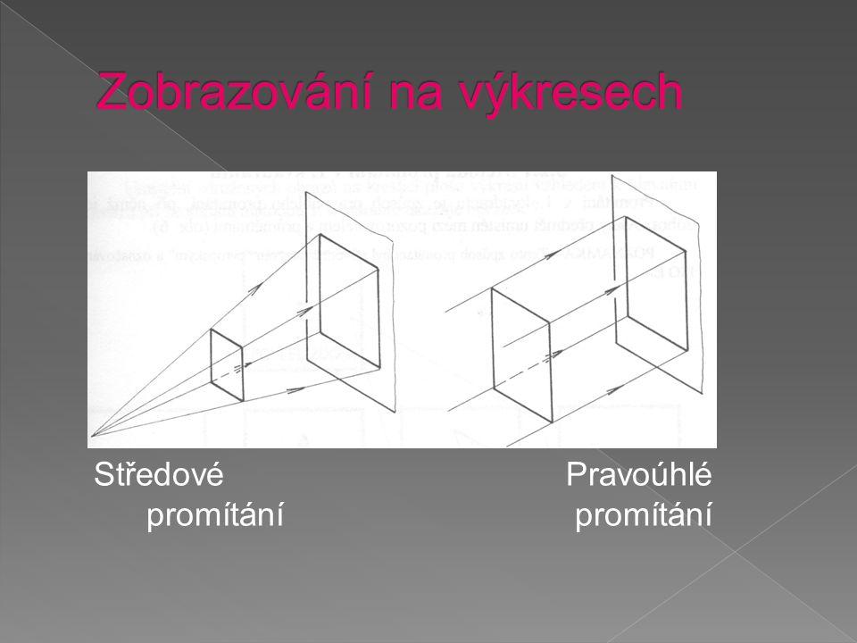 """A-čelní pohled (nárys) B-pohled shora (půdorys) C, D- boční pohled (bokorys) Na výkrese: ISO – E """"evropské"""