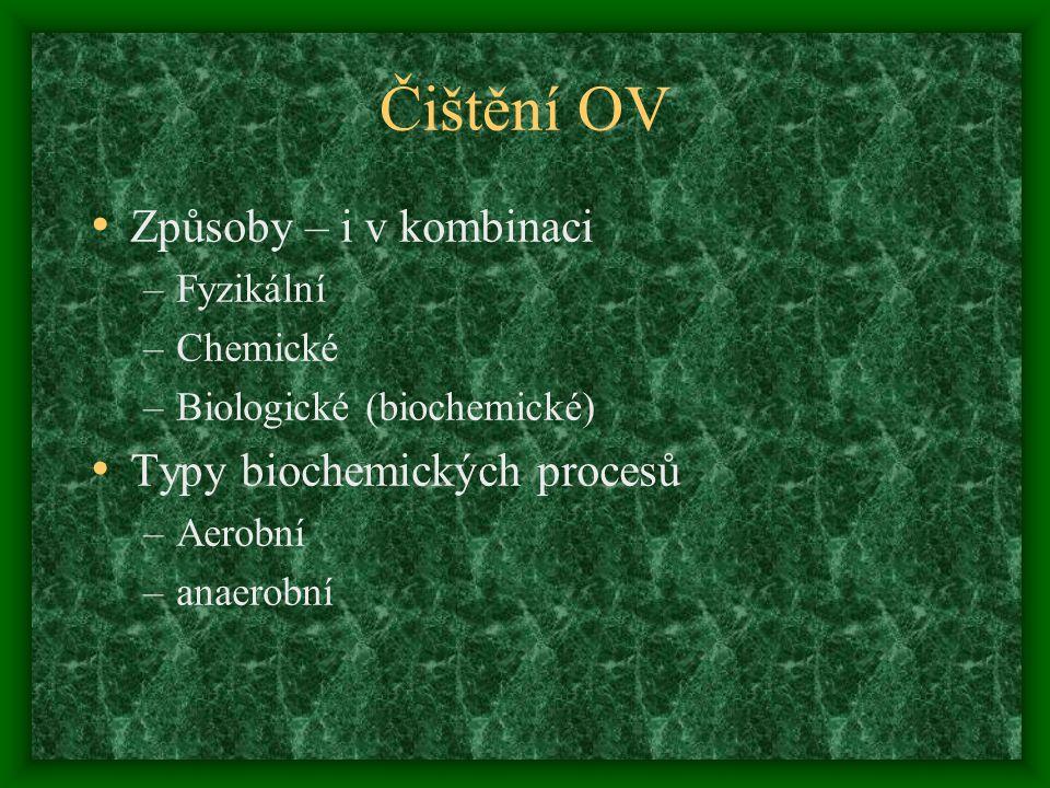 Čištění OV Způsoby – i v kombinaci –Fyzikální –Chemické –Biologické (biochemické) Typy biochemických procesů –Aerobní –anaerobní
