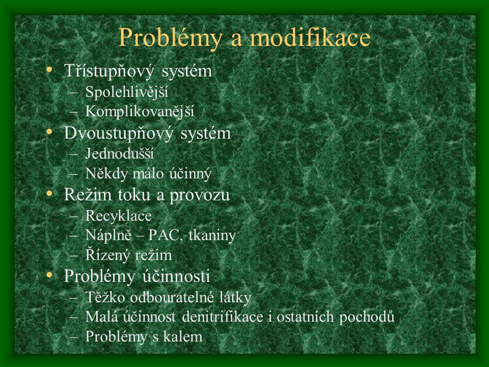Problémy a modifikace Třístupňový systém –Spolehlivější –Komplikovanější Dvoustupňový systém –Jednodušší –Někdy málo účinný Režim toku a provozu –Recy