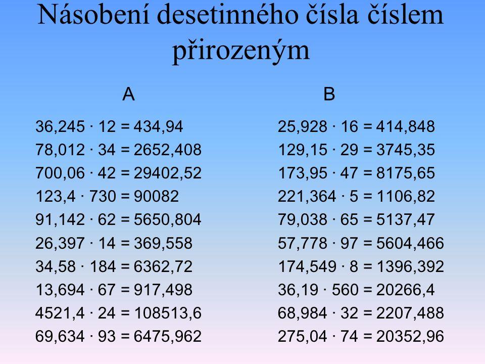 Násobení desetinného čísla číslem přirozeným 36,245 · 12 = 78,012 · 34 = 700,06 · 42 = 123,4 · 730 = 91,142 · 62 = 26,397 · 14 = 34,58 · 184 = 13,694