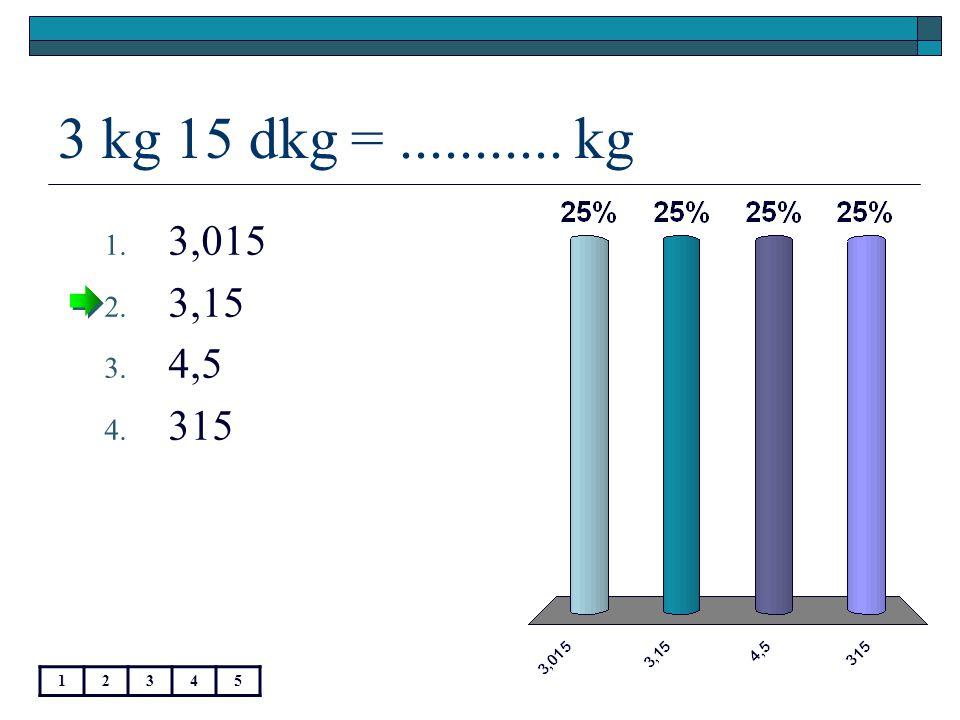 23,5 g =............ kg 12345 1. 0,0235 2. 0,235 3. 235 4. 23 500