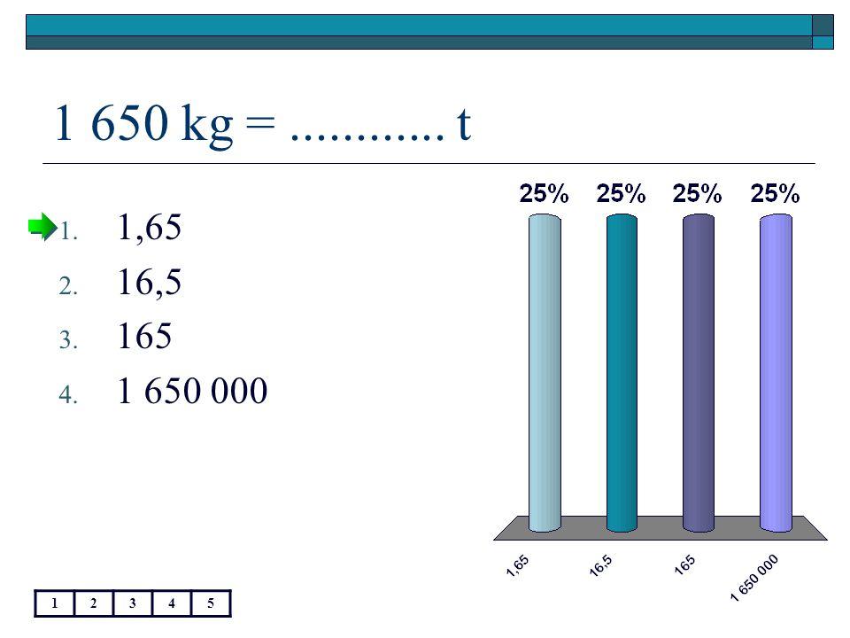 1 650 kg =............ t 12345 1. 1,65 2. 16,5 3. 165 4. 1 650 000