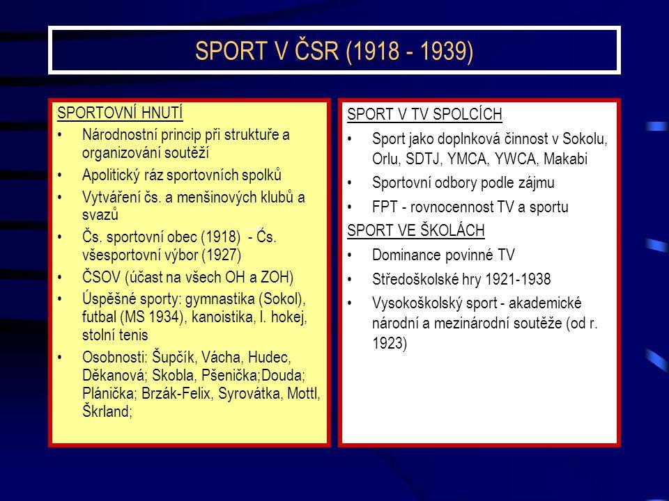 SPORT V ČSR (1918 - 1939) SPORTOVNÍ HNUTÍ Národnostní princip při struktuře a organizování soutěží Apolitický ráz sportovních spolků Vytváření čs. a m