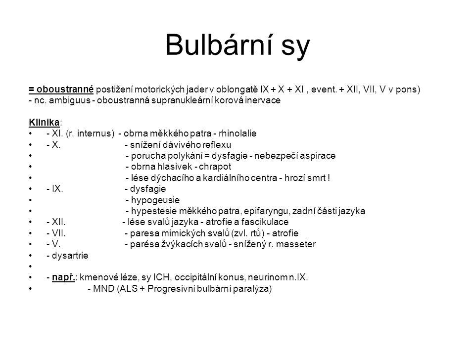 Bulbární sy = oboustranné postižení motorických jader v oblongatě IX + X + XI, event.