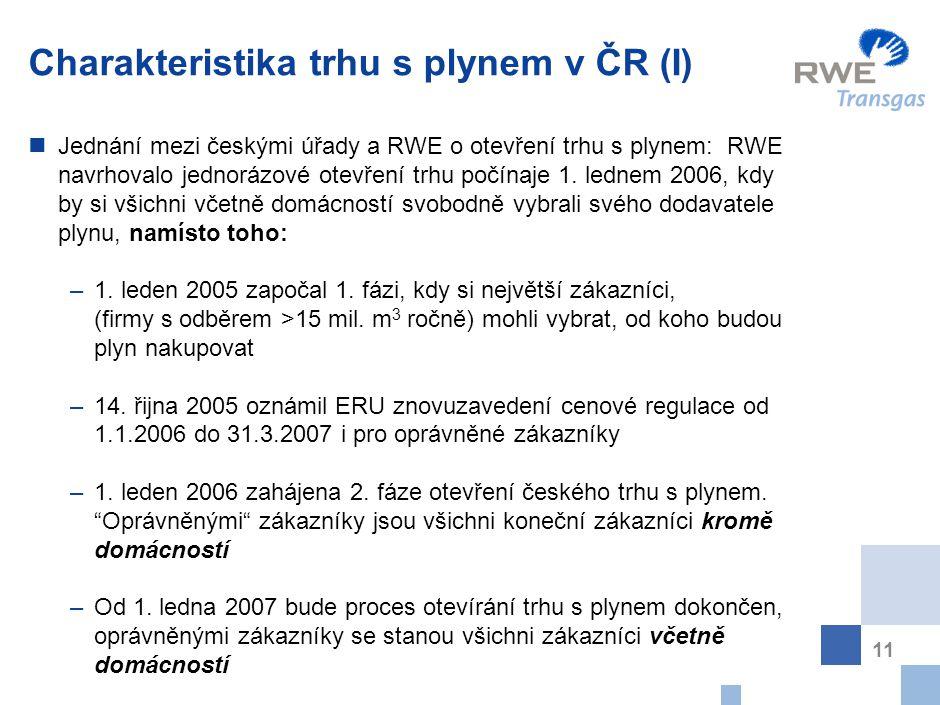 11 Charakteristika trhu s plynem v ČR (I) Jednání mezi českými úřady a RWE o otevření trhu s plynem: RWE navrhovalo jednorázové otevření trhu počínaje